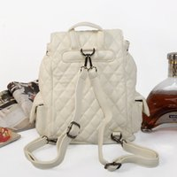 Women men double shoulders backpack leather with flaps rope ...