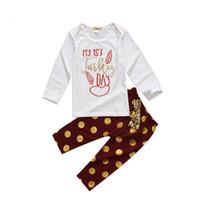 새 스타일 유아 어린이 아기 소녀 소년 의류 세트 긴 소매 추수 감사절 t- 셔츠 바둑 자 도트 바지 3pcs 복장 아기 의류 세트