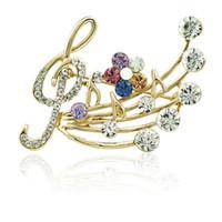 Frauen-elegante Musik-Anmerkung Rhinestone-Perlen-Brosche WR