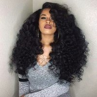 180% Density Synthetic Lace Front Wig Black Long Kinky Curly...