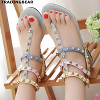 Women rivet flat sandals flip flops multi colors patchwork T...