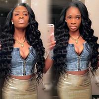 Pelucas de cabello humano Virgin Virgin Flojo Sin Glueless Lacio completo ondulado Pelucas de pelo humano de encaje Pelucas de pelo indio para mujeres negras