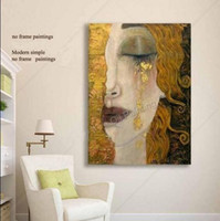Woman With Gold Tears Portrait Handpainted Modern Wall Decor Abstract Art Oil Painting On Canvas Multi sizes Available meii