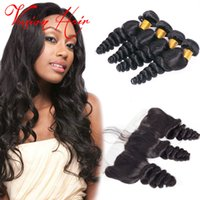 Hot Sale Loose Wave Peruvian Hair 3 Bundles With Lace Fronta...
