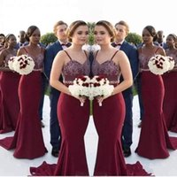 Burgundy Mermaid Long Bridesmaid Dresses 2017 Lace Appliques...
