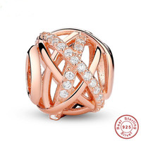 Goldfarbe Galaxy, Rose Klar CZ Bead 925 Sterling Silber Charm Fit Armband Schmuck Kostenloser Versand