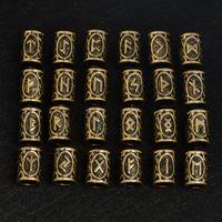 200 pz / lotto vintage color bronzo Norse Viking Runes Charms Perline per Barba o Capelli Vikings Rune Kit braccialetto collana fai da te Z0006
