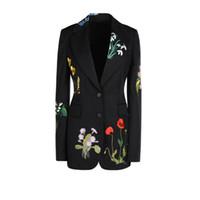 도매 - 2016 가을 겨울 여성의 새로운 유럽의 하이 엔드 고급스러운 꽃 자수 슬림 허리 블랙 착실히 보내다 재킷