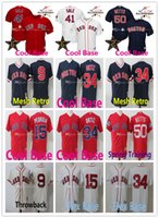 Maillot cousu 9 Ted Williams 41 Chris Vente Maillots Boston Red Sox 34 David Ortiz 15 Dustin Pedroia 50 Mookie Betts Basketbal Jersey