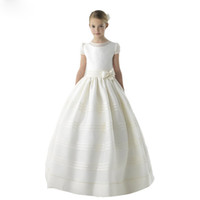 wholesale new white stain flower girl' s dress with shor...