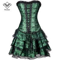 Steampunk klänning Modellering Corset med kjol midja korsett klänning överbust shapewear bustier gotisk burlesque corselet
