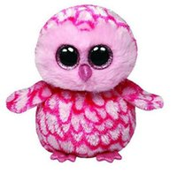 Original Ty Beanie Boos Big Eyes Plush Toy Doll Pink Owl