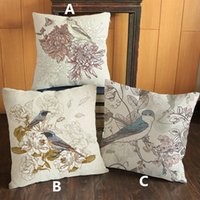 Vintage kuş çiçek baskılı yastık Ev Kanepe keten pamuk kadife dekoratif yastık kılıfı 45 * 45 cm # 62