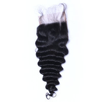 Deep Wave Curl Lace Closure Bleached Knots Brazilian Deep Cu...