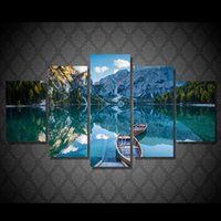 5 Pcs Set Framed HD Printed Lake Boat Mountain Picture Wall ...