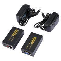 Freeshiping HD Kadın Kadın VGA Extender Lan CAT5e / 6 RJ45 Ethernet Adaptörü VGA Video ve Stereo AudioExtension Dönüştürücü ABD Plug ile