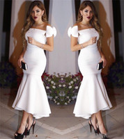 Simple Mermaid White Ankle Length Evening Dresses 2019 Newes...