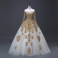 Arabic Gold Appliques Ball Gown Wedding Dresses With Long Sl...