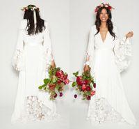 2019 Simples Bohemian País vestidos de noiva V profundo Long Neck mangas até o chão Summer Beach nupcial Plus Size Boho do vestido de casamento
