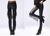 Nuevo diseño de la mujer otoño de la mujer invierno sexy beyon borla margina patchwork PU cuero túnica leggings más terciopelo medias pantalones cintura elástica