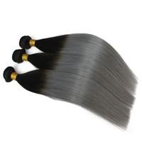 3pcs / lot Brésilien Ombre Trame de Cheveux Deux Tons Couleur 1B / 613 1b / Gris Blonde Péruvienne Droite Armure de Cheveux Humains Sfot Cheveux Pas Cher Bundles