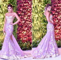 Red Carpet Lavender Mermaid Evening Dresses Gowns Sweetheart...