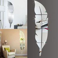 DIY 3D 현대 깃털 깃털 스타일 아크릴 거울 벽 스티커 홈 인테리어 73 * 18cm