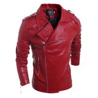 Wholesale- Mens Giacca in pelle scamosciata stile solido rosso nero bianco Faux giacche in pelle da uomo coreano Slim Fit maschile Marca Punk Man Coat