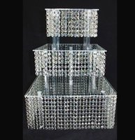 Carrinho De Bolo de Casamento Acrílico De cristal Sobremesa Mesa Do Bolo Rack de Mesa Do Casamento Cupcake Stand 3 squre camada
