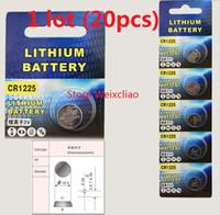 20pcs 1 lot CR1225 3V lithium li ion button cell battery CR 1225 3 Volt li-ion coin batteries Free Shipping