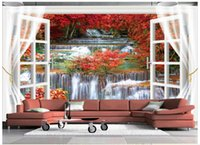 Foto 3D wallpaper murales personalizzati 3d Beauty TV setting wall fuori dalla finestra 3d living room wall decor