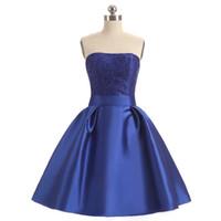 Nouvelle arrivée de mode sans bretelles en dentelle de mariage courtes robes de demoiselles d'honneur sur mesure courte robe de demoiselle d'honneur de style designer (SL-B131)