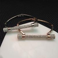 Braccialetto di cristallo di lusso a ferro di cavallo Bracciali Braccialetti di marca Oro argento Colore Donne Bijoux Strass Bracciale Cuff Polsino Feminina