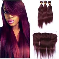 8A бразильские волосы ткать 3 пучки Красный 99j Бургундия бразильский прямые девственные волосы прямые чистый цвет человеческих волос расширения с кружевом Fronta