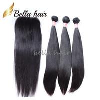 Bella Hair® 8A péruvienne pleine tête de la Vierge humaine Cheveux Trame 3pc + 1pc fermeture (4 * 4) Couleur naturelle droite de l'homme Tissages Cheveux avec fermeture