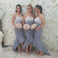 2017 High Low Country Bridesmaids Dresses Spaghetti Straps W...