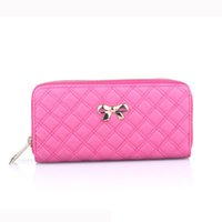 2017 Fashion Women Bowknot Plaid Long Double Zip Clutch Leat...