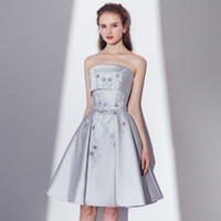 Fashion New Evening Dress Banquet Simple Elegant Grey Satin ...