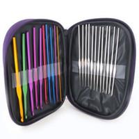 22Pcs Алюминиевые крючки для вязания спицами Набор многоцветных трикотажных изделий Weave Craft Пряжа Швейные инструменты Крючки для вязания спицами
