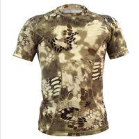 Taktik kamuflaj Yaz T gömlek Erkekler Hızlı Kuru Nefes Savaş T-Shirt Açık Spor Avcılık Tshirt