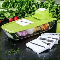 Lekoch-Mandolinen- und Gemüseschneider mit 4 auswechselbaren Edelstahlklingen - Gemüseschneider Peeler Slicer Reibe BOX LS-1011