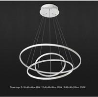 Oturma odası için modern kolye lambalar 3/2/1 daire yüzükler akrilik alüminyum led aydınlatma tavan lambası armatürleri