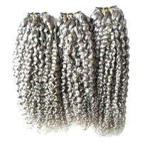 Серый наращивание волос ткать кудрявый вьющиеся пучки человеческих волос 3 шт. / лот девственница бразильская волна волос ткет, двойной обращается, не пролить