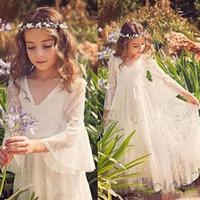 Laço completo Bohemia flor menina vestidos para ilusão de casamento 3/4 Speaker manga do chão do chão menina vestidos de festa de renda MC0668