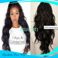 Synthetic Lace Front Free shipping jet black body wave synth...
