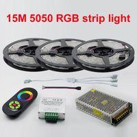 Yeni Süslemeleri 15 Metre RGB Led Şeritler 5050 60 Leds / M noel Işık Olmayan Su Geçirmez Bant + 18A Dokunmatik RF Dimmer Uzaktan Kumanda