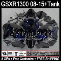 8Gifts voor Suzuki Hayabusa GSXR1300 08 15 GSXR-1300 BLUE VLAMES 14MY43 GSXR 1300 GSX R1300 08 09 10 11 12 13 14 15 Verkosten Glans Black Kit