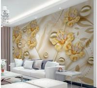 flores joyas de pared 3D de fondo de TV estética mural 3d papeles de la pared del papel pintado 3D para TV telón de fondo