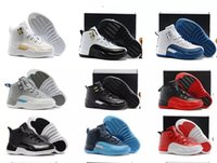 Air Retro 12 Grey Pink Black White Kids Basketball Shoes Chi...