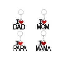 Cadenas Amor PAPA MAMA nuevo llavero con las letras I, papá, mamá roja del amor del corazón del anillo dominante para el regalo del día de padre Día de la Madre